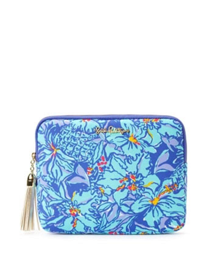 New Lilly Pulitzer iPad Tech Clutch Bag Gold Leather Tassel Iris ...