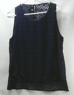 (IZ BYER Womens Shirt Tank Top Navy Blue Knit Sheer Pattern Overlay Size XL)