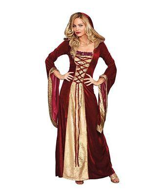 Dreamgirl Dame von Thron Erwachsene Geschichte Mittelalterlich Halloween Kostüm