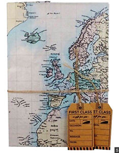 World Map Design Gift Wrapping Paper Birthday Father Day Craft Xmas with 2 Tag
