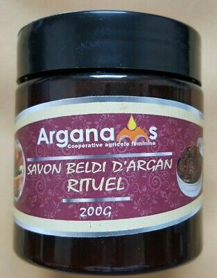 Moroccan Rhassoul + Black Soap Beldi Savon Noir Hammam Spa Shower 200g.