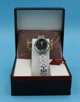 New Women's Burgi BUR124SSB Quartz Swarovski Crystals Black Dial Bracelet Watch