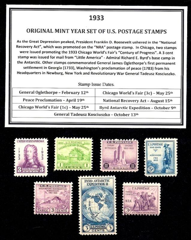 1933 YEAR SET OF MINT -MNH- VINTAGE U.S. POSTAGE STAMPS