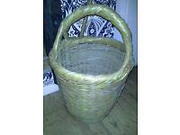basket ,wicker , shopping basket , log basket, flower display, vintage. Retro , garden , kitchen