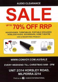 Audio Warehouse Clearance Sale - This Weekend