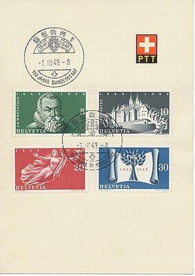 """SCHWEIZ 1948 100 Jahre Schweizer Bundesstaat kpl. PTT-Sonderkarte m. SST """"BERN"""""""