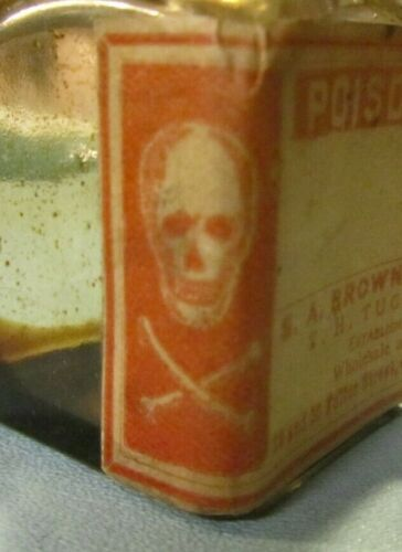 Antique S.A. Brown Poison Gift Medicine Glass Bottle with Skull Crossbones Label