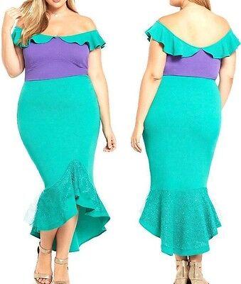 Ariel Cosplay Dress (NWT 18 2x Torrid Disney Little Mermaid Dress Ariel Costume Wiggle Sexy)