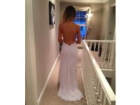 White backless fitted formal/prom dress with gold chain detail size 8