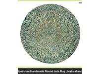 Round jute rug 150cm - blue green turquoise neutral tones