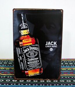 Jack Daniels Whiskey Bottle TIN SIGN Home Wall Decor Metal Poster FFY12109