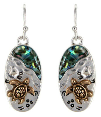 Metal Casting Sea Turtle Fish Hook Earrings with Shell Accent Fast -