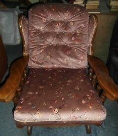 Rocking Fire Side Chair Wooden and Fabric Vintage comfortable in Pink Floral