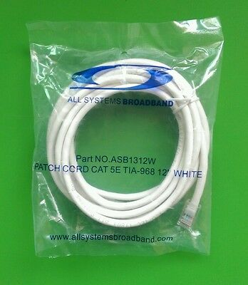 Cat5e Patch Cord RJ45 Network Ethernet Cable (12 FT, WHITE)