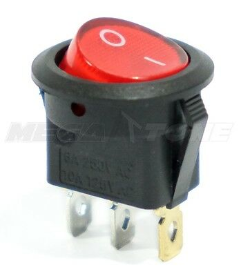 Spst 3 Pin Onoff Round Rocker Switch W Red Neon Lamp 10a125vac Usa Seller