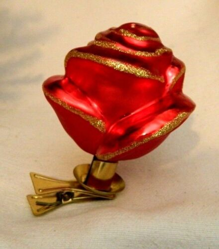 Large Fancy Clip on Red Gold Rose  Blown Glass Christmas Tree Ornaments  Germany