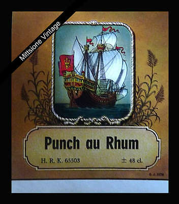 Old European Alcohol Label Lithograph: Vintage Liquor PUNCH AU RHUM (Liquor Punch)