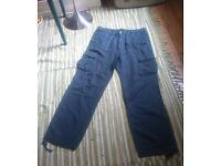 Men's 'baggy' linen trousers (W 36/ L 34) (60% linen, 40% cotton)