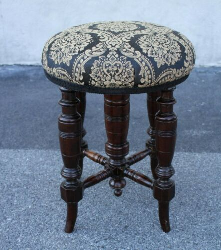 Great Victorian Walnut Piano Stool With New Upholstery