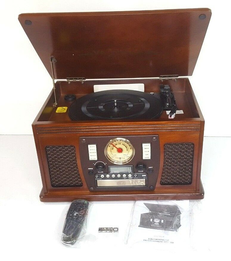 Victrola Nostalgic Aviator Wood 8-in-1 Bluetooth Turntable E
