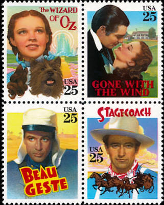 Classic Films 2445-8 Mint NH 1990 USA Block of 4 Wizard of Oz, Gone WithThe Wind