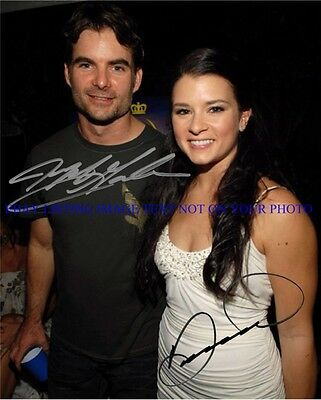 JEFF GORDON AND DANICA PATRICK SIGNED AUTOGRAPH 8x10 RP PHOTO NASCAR DRIVERS