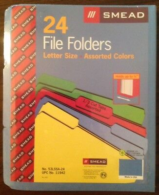 New Smead 24 File Folders Letter Size Assorted Colors 13 Cut Tabs
