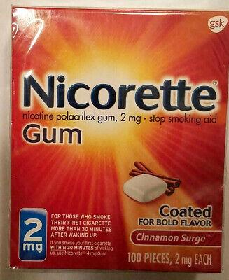 NEW Nicorette Gum Cinnamon Surge 2mg 100 Pcs Nicotine Gum Stop Smoking Exp -