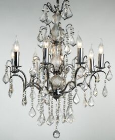 8 arm Chrome and crystal Chandelier