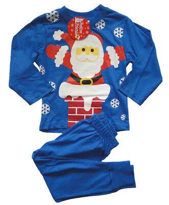Jungen Pyjama mit Weihnachtsmotiv Kinder Schlafanzug Weihnachten Weihnachtsmann ()