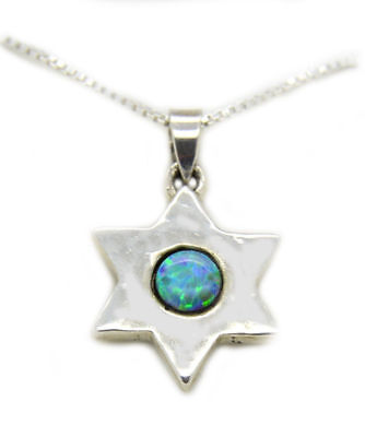 """Jewish Star of David pendant necklace 925 Sterling silver with Opal 18"""" Israel"""
