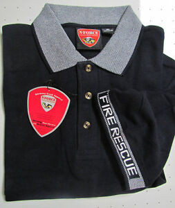 FIREMANS-Polo-Shirt-Navy-Blue-with-FIRE-RESCUE-on-Collar-and-Arm-Band-XL-Cotton