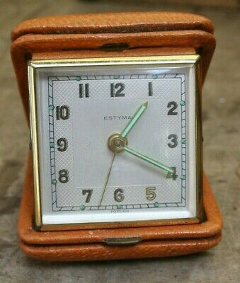 Vintage ~Estyma ~Travel Alarm Clock ~Leather Case ~VGC (SC5)
