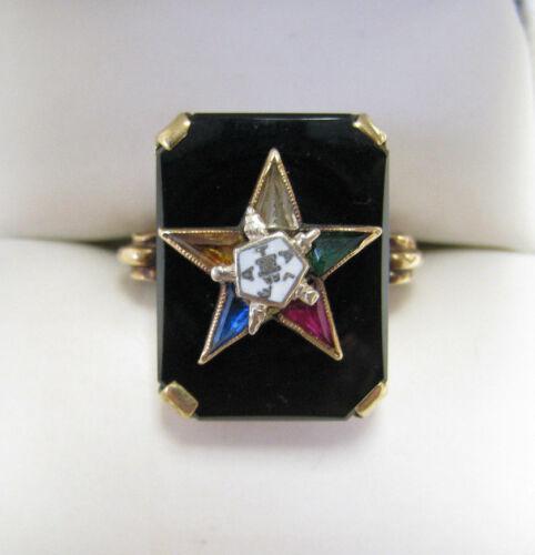 10k Gold Vintage Art Deco Order of the Eastern Star Gemstone Enamel Ring Sz 5.25