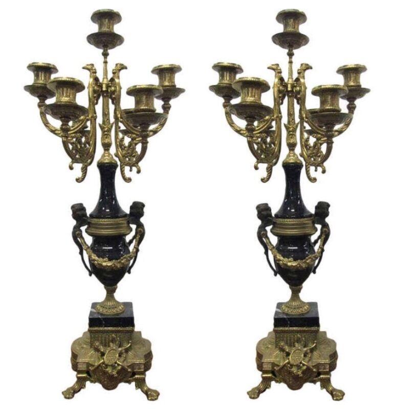Italian Brevettato Brass & Green Marble Candle Operas