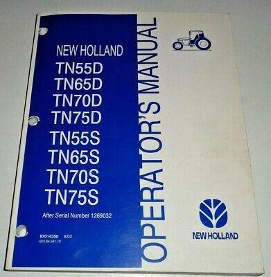 New Holland Tn55ds Tn65ds Tn70ds Tn75d Tn75ds Tractor Operators Manual 802