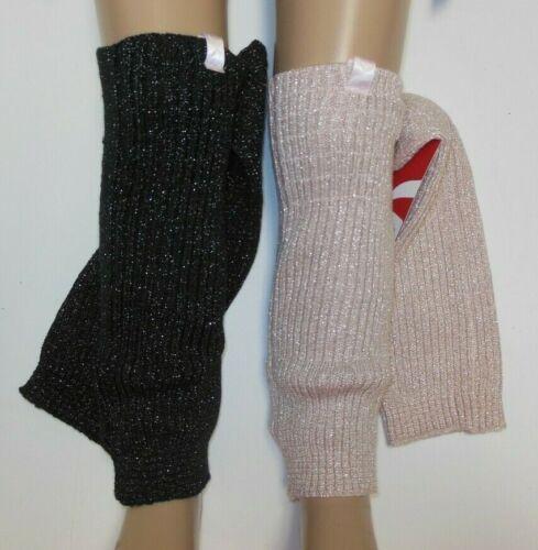 "Ladies 18"" Capezio legwarmers metallic threads black or pink 11714W no stirrup"