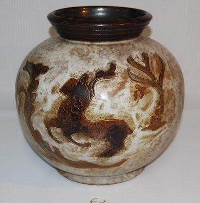 E1 Ancien cache-pot - grès - décor animalier