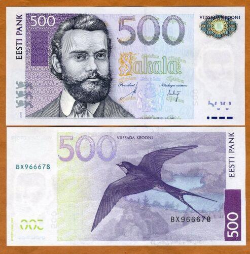 Estonia, 500 Krooni, 2007, P-89, UNC > Pre Euro