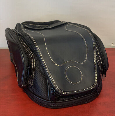 NEW Motorcycle Gas Fuel Tank Storage Bag Vinyl Faux Leather Multiple Pockets