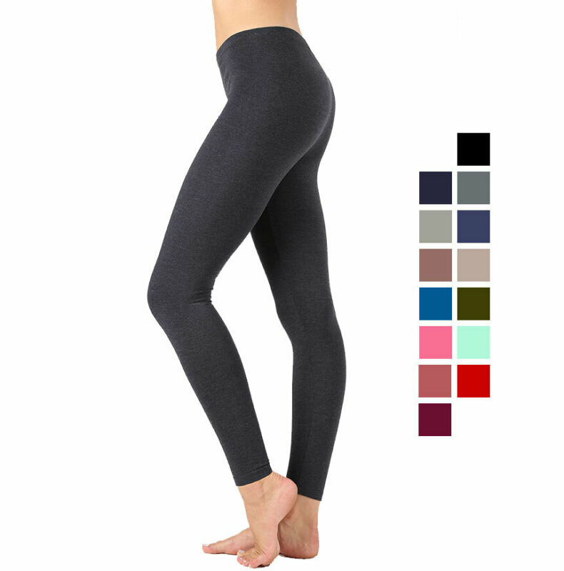 Premium Cotton Full Length Leggings Yoga Pants Stretchy Workout Basic Everyday