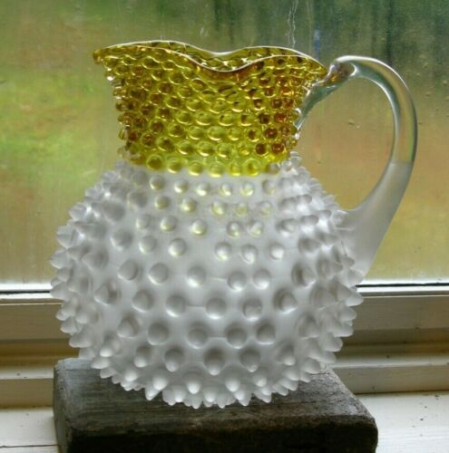 Antique Hobnail Glass Cider Lemonade Pitcher Translucent White Yellow Blown