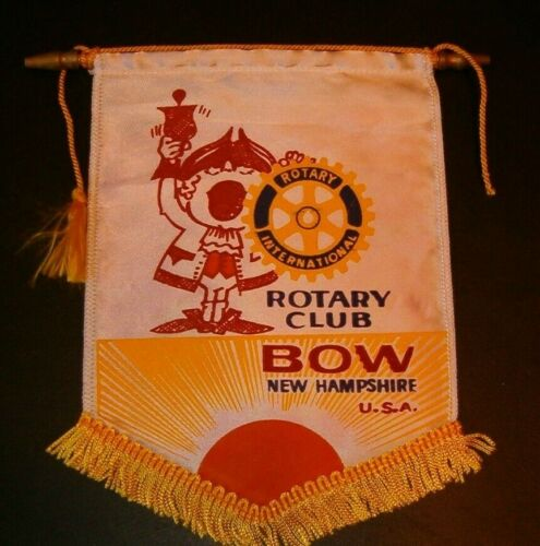 VINTAGE Rotary International Club wall banner flag BOW NEW HAMPSHIRE