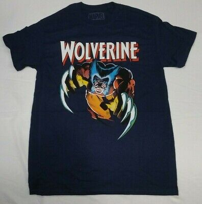 Authentic MARVEL WOLVERINE Attack T-Shirt Navy S-XL NEW - Wolverine T Shirt