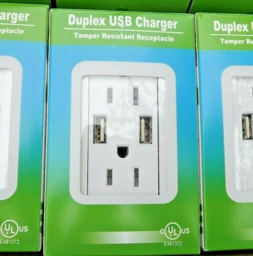 Four (4) 15A 125V,   DUPLEX RECEPTACLE W/ 2 USB CHARGING INLETS