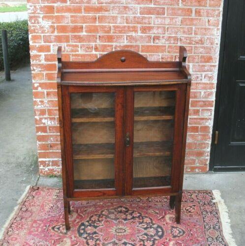 English Oak Arts & Crafts Glass Door Bookcase / Display Cabinet