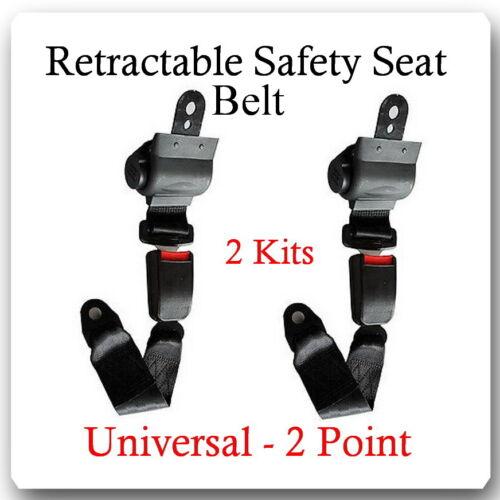 (2 Kits ) Universal Strap Retractable Car Trucks Safety Seat Belt Black 2 Point
