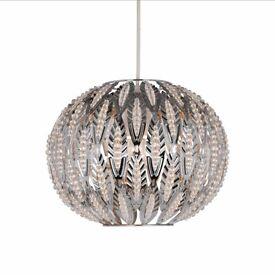 Modern Chrome Metal Leaf Design Easy Fit Ceiling Light Shade Bedroom Lounge NEW
