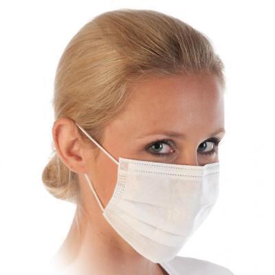 1 - 100 Stück Mundschutz mit Gummiband und Nasenbügel OP Staub Maske