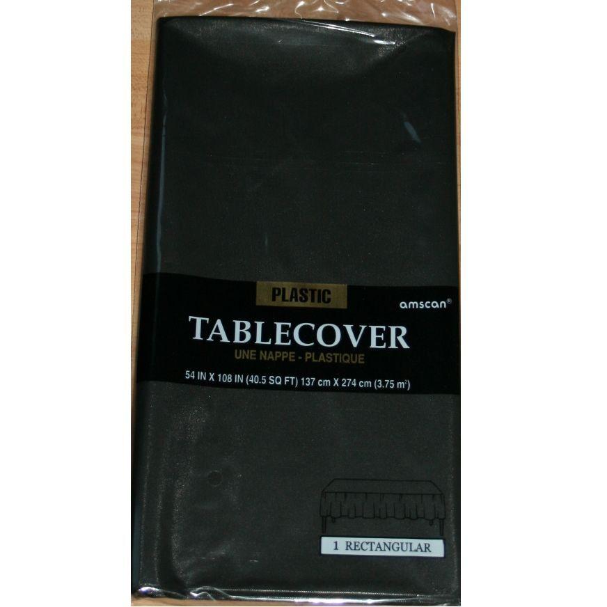 schwarze Tischdecke Kunststoff Plastik abwaschbar Party Partydekoration schwarz